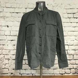 Maurices Women's Jacket Utility Cargo Collarless Gray Long Sleeve Size XL